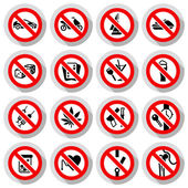 Set Prohibited symbols on paper stickers vector illustration