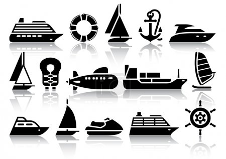 Illustration for Set of Water transport black icons with reflection, vector illustrations - Royalty Free Image