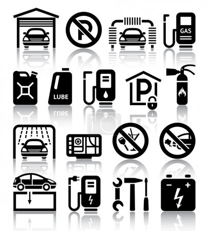 Transport service set of black icons