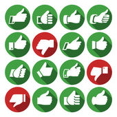 Thumbs up set icons on round buttons hands with shadow Vector illustration