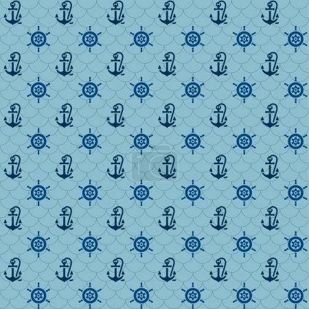 Seamless patterns, navy anchors and steering wheel