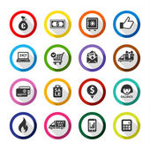 Set color flat buttons symbols with shadow Vector illustration 10eps