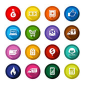 Set colored flat buttons white symbols with shadow Vector illustration 10eps