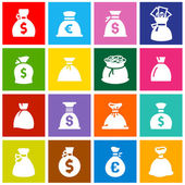 Money bags set icons on colored squares