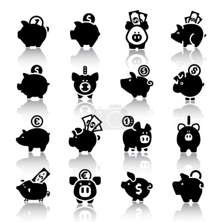 Piggy bank set16, with reflection
