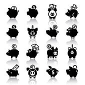Piggy bank set16 with reflection