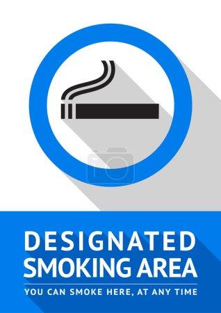 Label smoking area sticker, flat design