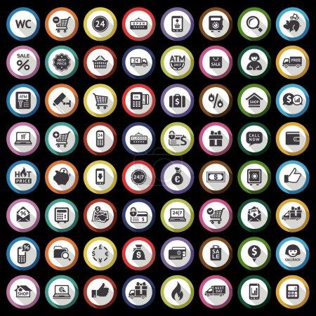 Shopping flat gray icons set on black background