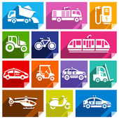Transport flat icons with shadow stickers square shapes bright colors - Set 04