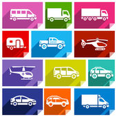 Transport flat icons with shadow stickers square shapes bright colors - Set 03
