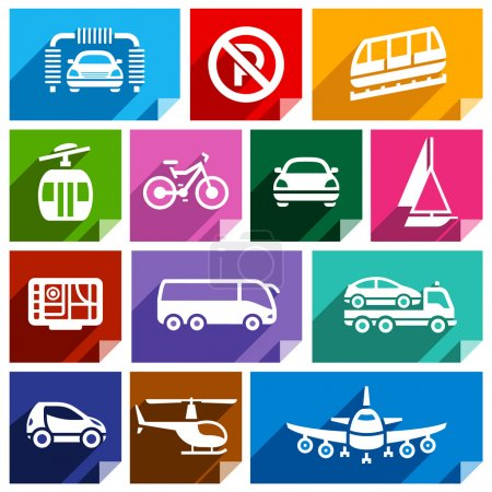 Photo for Transport flat icons with shadow, stickers square shapes, bright colors - Set 06 - Royalty Free Image