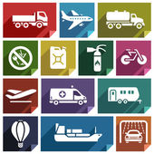 Transport flat icons with shadow stickers square shapes retro colors - Set 02