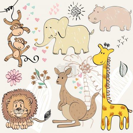 Illustration for Set of wild animals. Hand drawn illustration - Royalty Free Image