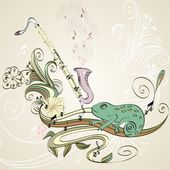 Drawn illustration of a musical instrument clarinet