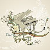 Sketch grand piano on a beige background