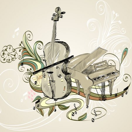 Illustration for Hand drawn illustration of classical musical instruments - Royalty Free Image