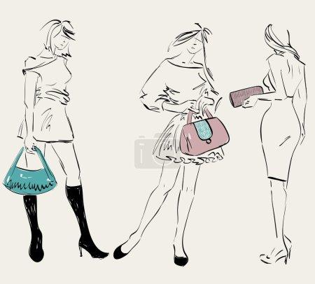 Illustration pour Esquisse des mannequins. Les femmes montrent accessoires à la mode - image libre de droit