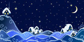 """Постер, картина, фотообои """"Рождественские пейзаж Зимний вечер в деревне"""""""