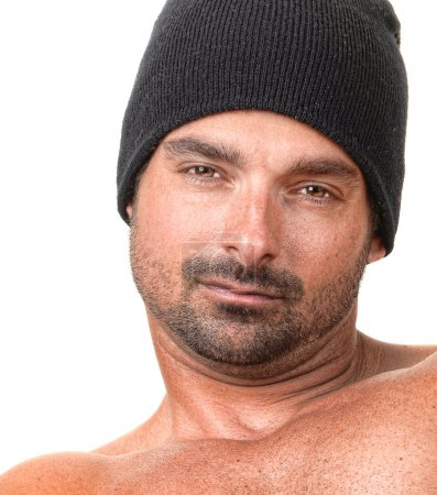 Photo for Expressive Image of a Tough Guy on White - Royalty Free Image