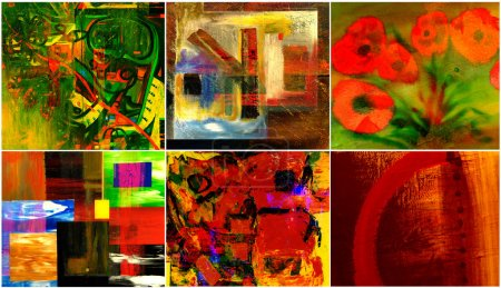 Photo for Beautiful collection collage of six abstract paintings - Royalty Free Image
