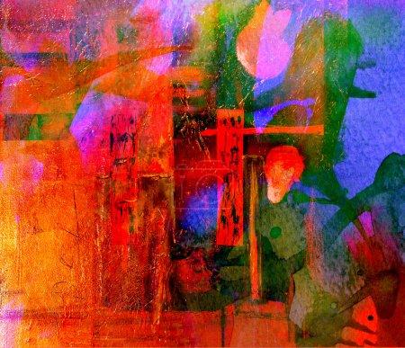 Photo pour Belle image d'une aquarelle originale abstraite sur papier - image libre de droit