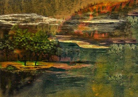 Photo pour Peinture abstraite de paysage à l'aquarelle à petite échelle très agréable sur papier - image libre de droit