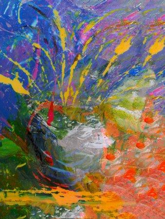 Photo pour Image d'une peinture à l'huile abstraite originale à grande échelle - image libre de droit