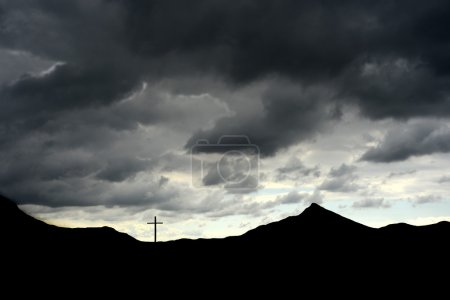 Photo for Image of a cross on a hillside in early morning - Royalty Free Image