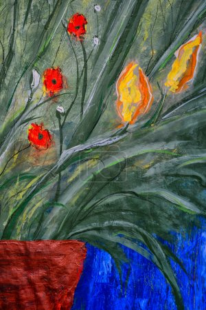 Photo pour Belle grande peinture à l'huile et toile - image libre de droit