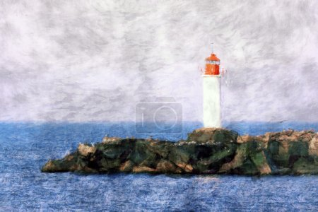 White lighthouse painting