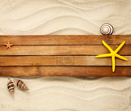 Photo for Few marine items on a wooden boards against sandy background. - Royalty Free Image