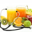 Healthy eating. Fruits, vegetables, juice and stet...
