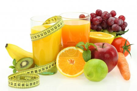 Photo for Diet and nutrition. Fresh fruits, vegetables and juice - Royalty Free Image