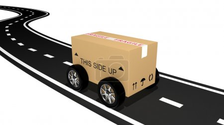 Photo for Shipping cardboard on the road - Royalty Free Image