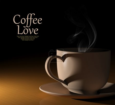 Photo for Coffee love. Warm cup of coffee on black background - Royalty Free Image
