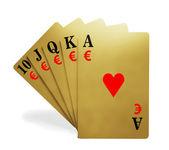 Královská postupka v barvě hrací karty poker ruce symbolem peněz