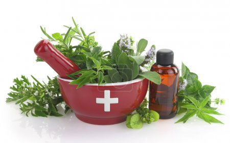Photo for Mortar with medicine cross, fresh herbs and essential oil bottle - Royalty Free Image