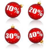 červené vánoční koule s čísly a procenta symboly pro vánoční prodej