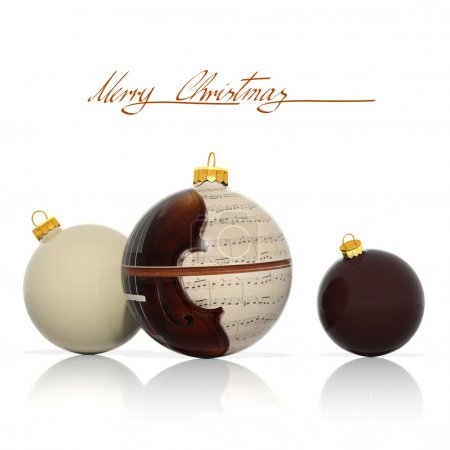 Photo for Three Christmas balls with musical elements - Royalty Free Image
