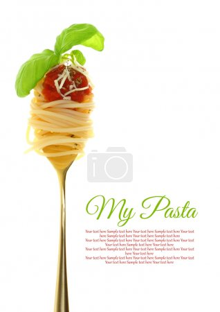 Photo for Fork with spaghetti, tomato sauce and basil isolated - Royalty Free Image