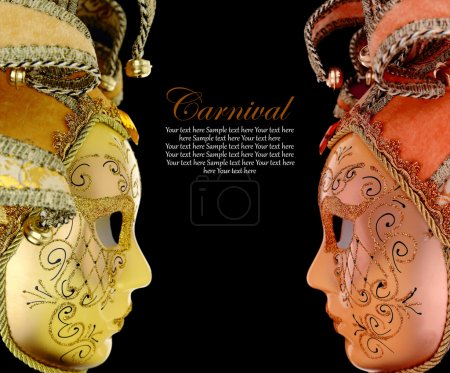 Photo for Vintage venetian carnival masks on black background - Royalty Free Image