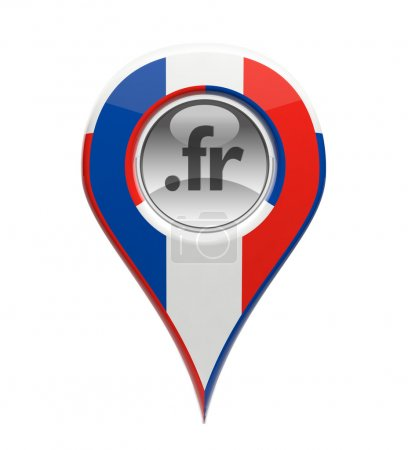 3D pin domain marker with French flag isolated