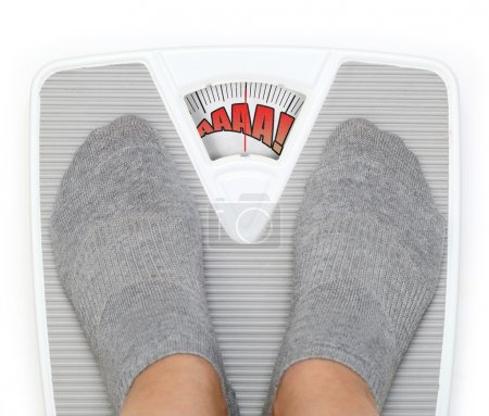 Female feet on funny bathroom scale