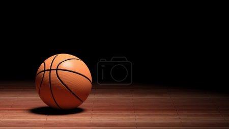 Photo pour Étage Cour de basket-ball avec ballon isolé sur noir et copie-espace - image libre de droit
