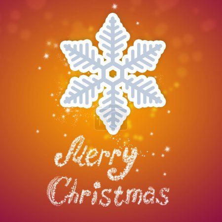 Photo for Bright Christmas background with snowflake and merry christmas sign - Royalty Free Image