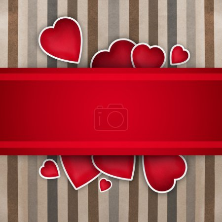 Valentine background: cute hearts and red ribbon over paper text