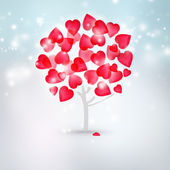 Valentine background: tree with hearts instead of leaves standin