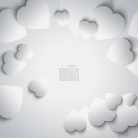Beautiful modern valentine background with white hearts on gray