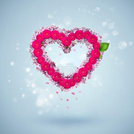 Photo pour Fond Saint-Valentin : coeur unique fait de fleurs - image libre de droit
