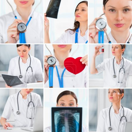 Photo pour Collection de photos de médecin dans diverses situations - image libre de droit